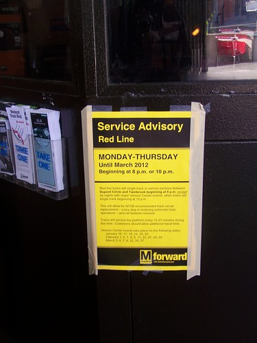 WMATA Red line subway service maintenance advisory notice