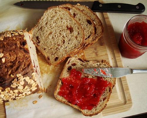 Cranberry Walnut Oat Bread with Minty Strawberry Jam