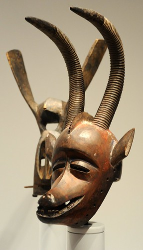 African masks, grinning animal sculptures, displays, Seattle Art Museum, Seattle, Washington, USA by Wonderlane