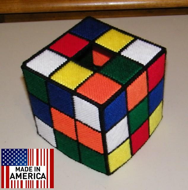 Rubik 39 S Rubiks Rubix Cube Tissue Box Cover Hand Made As