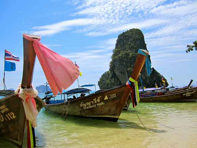 beach on railay in thailand