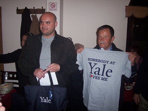 Our driver, Mohamed, and guide, Naim, with their Yale swag