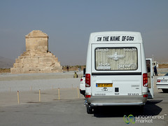 Tour Bus and Tomb of Cyrus - Pasargad, Iran