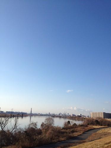 淀川河川敷。いい天気!