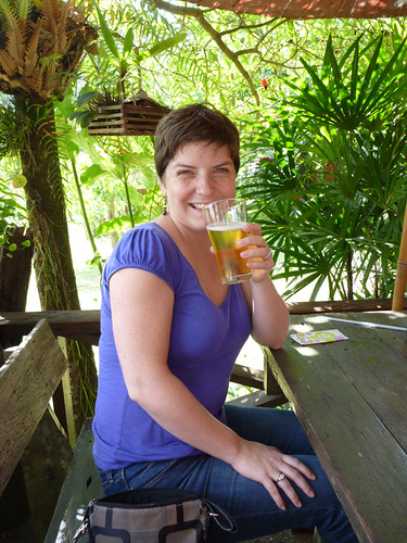 enjoying a beer with lunch