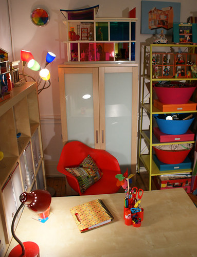 A few of my favorite things: my Medusa lamp, my Kaleidoscope house, my TMNT action figures, and my red chair