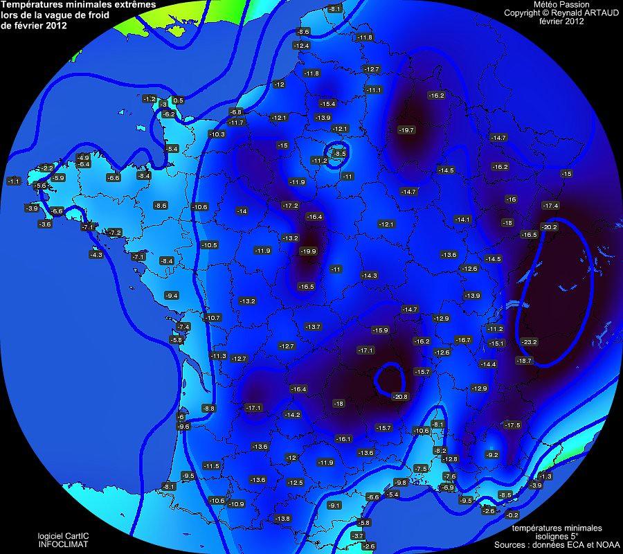 températures minimales extrêmes lors de la vague de froid de février 2012 météopassion