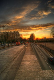 Paris sunset road