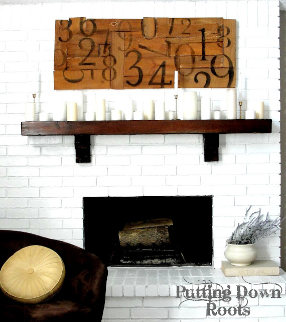 pottery barn, wood pallet, sign, numbers, transfer, mantle