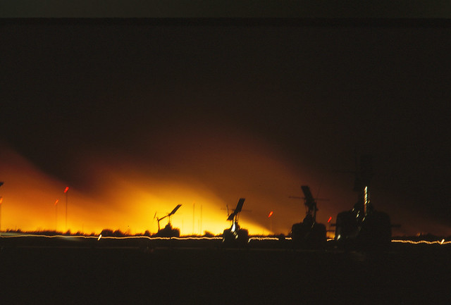 Saigon 1964 - Tan Son Nhut - Fuel dump mortared by the VC - 9pm the next night