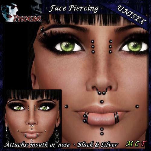 *P* Unisex Face Piercing ~ Serie K3 ~ Black & Silver