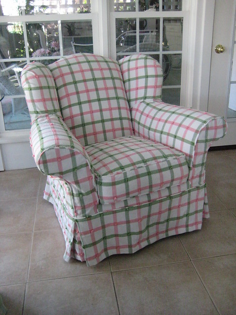Overstuffed Wing Chair Slip Covered In Plaid Explore