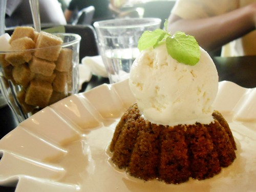 steamed ginger pudding with earl grey creme anglaise and vanilla ice cream @ ps cafe
