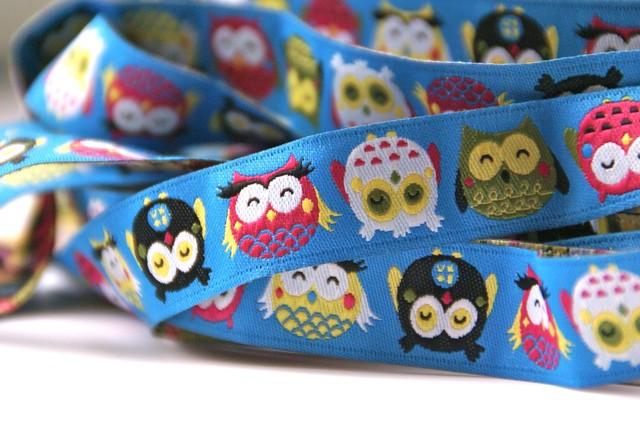 Owls woven ribbon (petrol blue)