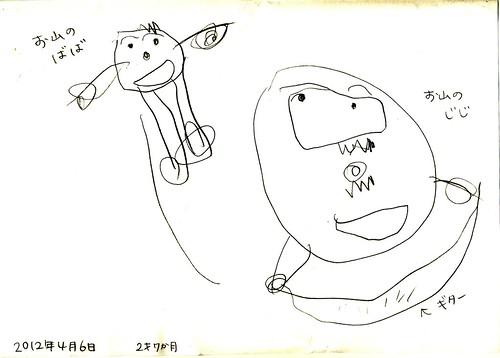 孫娘の絵・お山のジジとババ 2012年4月6日 by Poran111