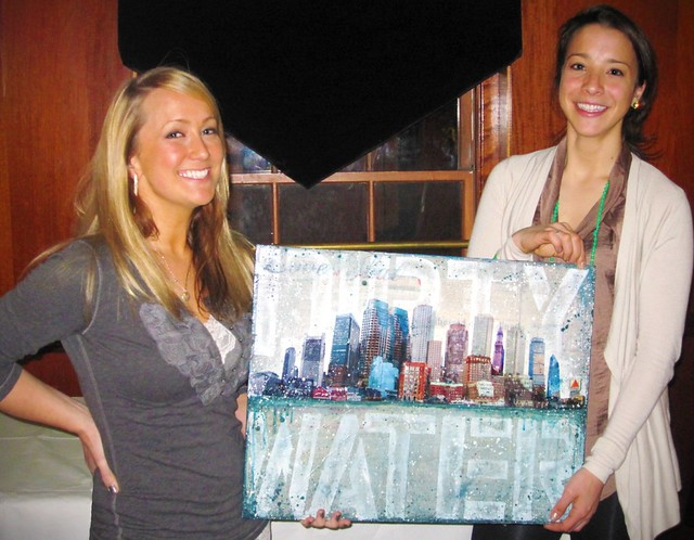 Me and my friend Laura at her Boston Marathon charity fundraiser, with my donated painting