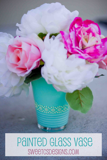 Painted glass vase with Martha Stewart stencils
