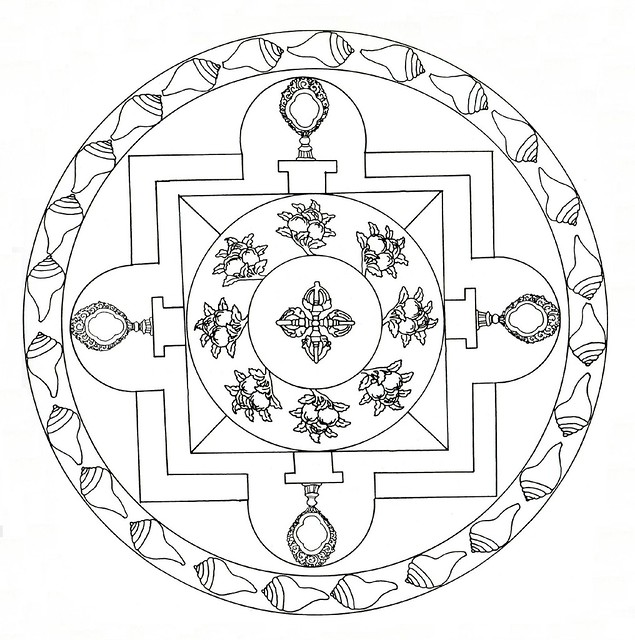circular Tibetan Mandala line drawing with shell border