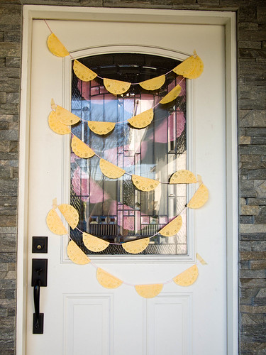 Front door with hand dyed bunting