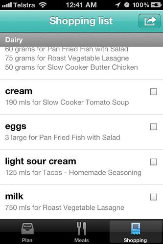 Menu Planner App - shopping list