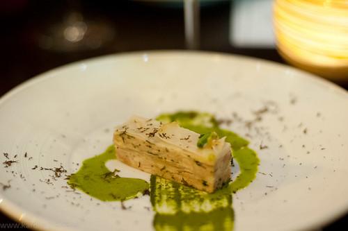 Rabbit lasagne, tarragon and mustard puree