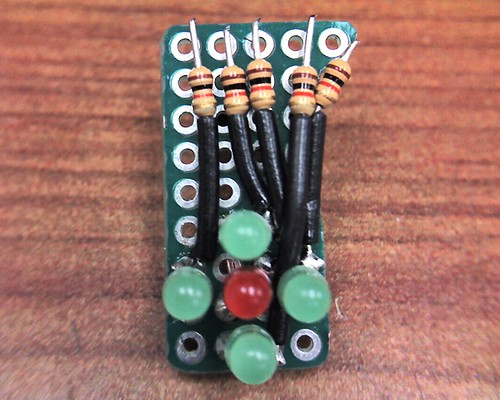 assembled bubble LEDs and resistors