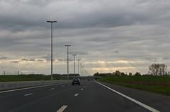 Rayons de soleil, sur l'autoroute, direction Bruxelles