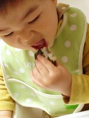 海苔を巻いたおにぎりを食べるよ!(2012/4/29)