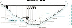 Plan de l'élévation aval du barrage de Vouglans
