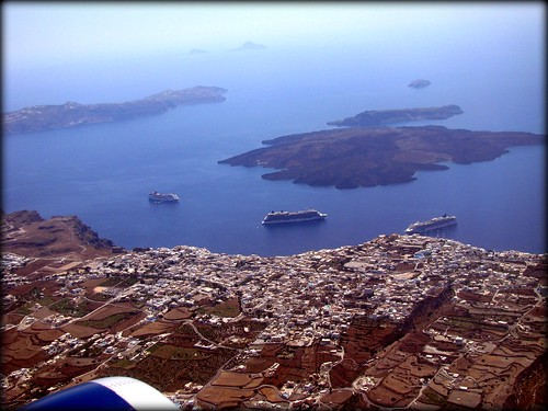 Flying above Santorini island