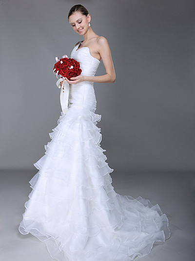 one shoulder mermaid wedding gowns