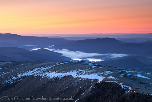Just before sunrise from the summit of Fionn Bheinn, looking over to Lochluichart by tomgardner