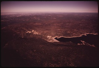 The east ridge of Cherry Canyon in the boundary between the Stanislaus National Forest and Yosemite National Park. The fireline was held on the west side of the canyon and the fire did not reach the park, September 1973