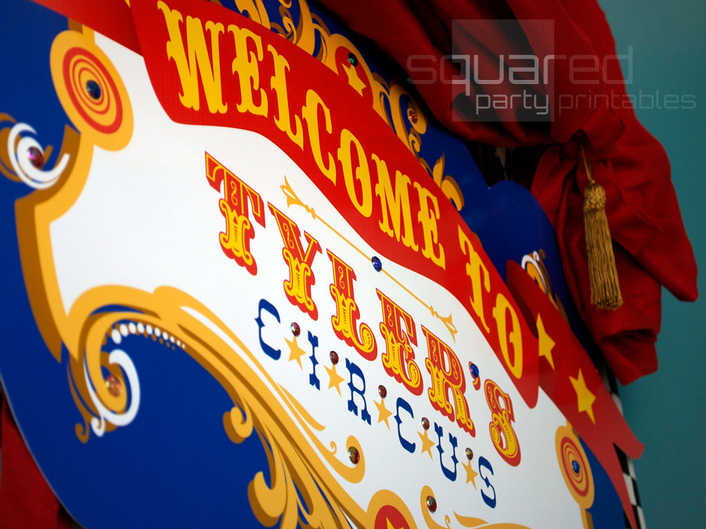Vintage Luxe Circus Party Backdrop Sign
