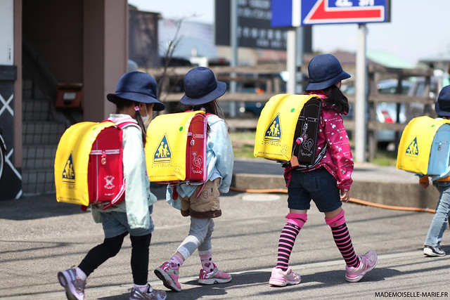 School kids. Utsunomiya street photography, Japan.