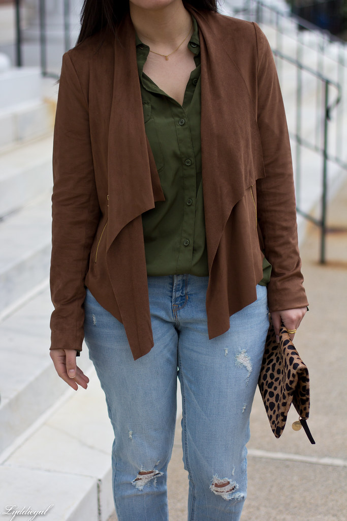 green button down, brown draped jacket, distressed denim-5.jpg