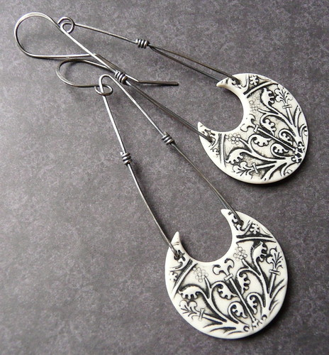 Long Athena Earrings - Porcelain & Sterling