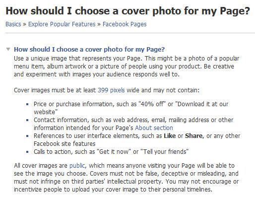 (英語版)「新Facebookページのカバー画像について」の本文