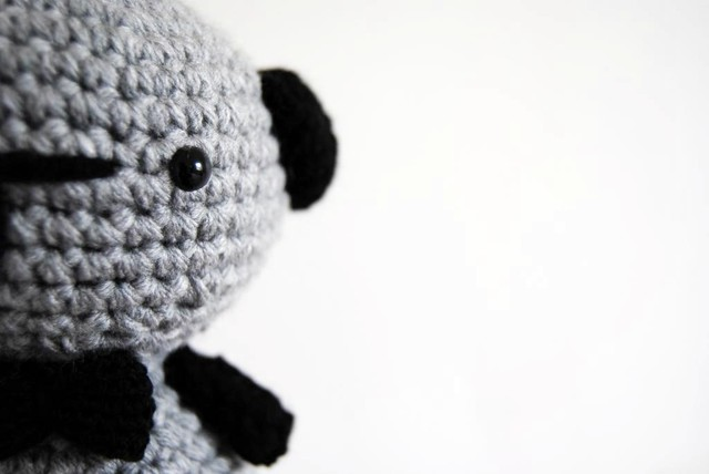 Amigurumi Big Grey Doggy with a bow tie