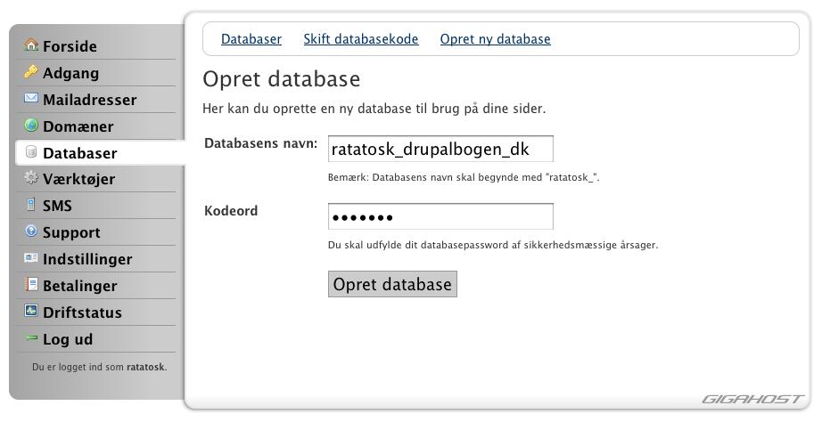 Opret en database til dit site