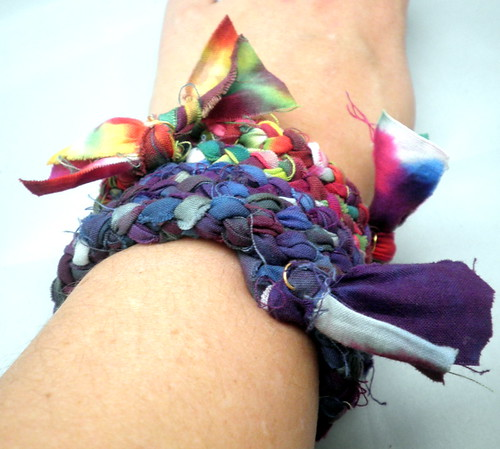 Braided Hand-Dyed Fabric Memory Wire Bracelets