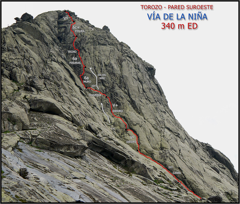 RESEÑA VIA DE LA NIÑA 340 m ED 6c- TOROZO - PARED SUROESTE