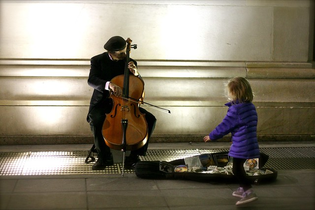 Zoey and Cello player - Washington Square, Greenwich Village - March 2012