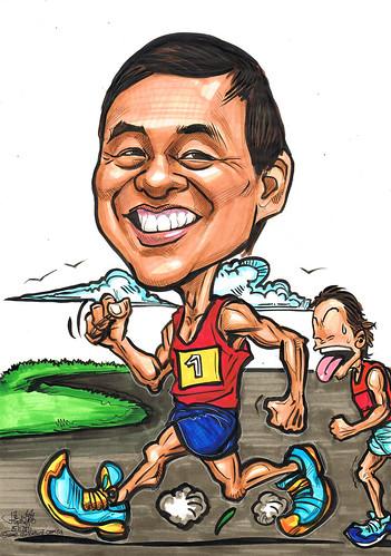 marathon runner caricature