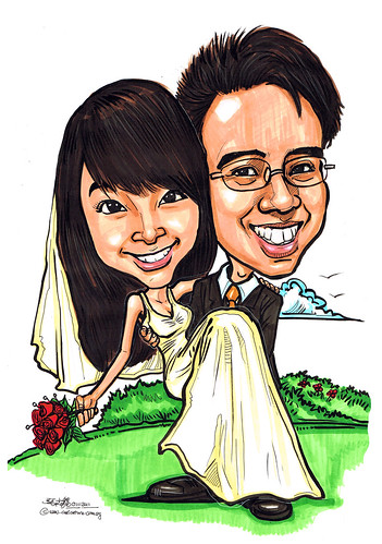 Wedding couple caricatures at garden