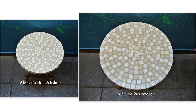 Banco de madeira com assento em mosaico