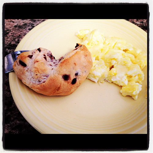 Eggs and chocolate scones for Valentines Day breakfast.