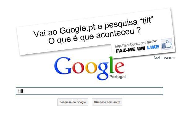 "Pesquisa ""tilt"" no Google"