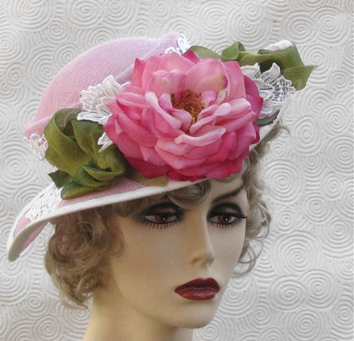 ... Shabby Chic Pink Tea Party Hat  f682ff0e847