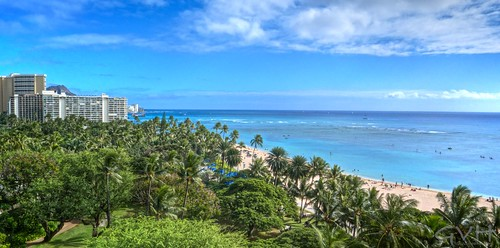 View of Fort DeRussy Beach Park and Waikiki from Hilton Hawaiian Village Ali'i tower